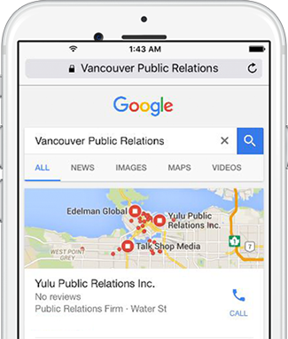 Vancouver Public Relations SEO search results in Google