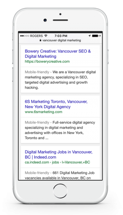 Screenshot of Bowery Creative dominating Google search results for SEO in Vancouver
